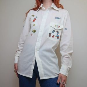 Vintage 70s food graphic white button-down shirt